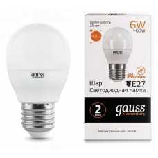 Лампа светодиодная Gauss  E27 6Вт 3000K 53216