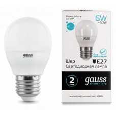 Лампа светодиодная Gauss  E27 6Вт 4100K 53226