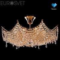 Люстра Потолочная EUROSVET Лита 10033/8 золото/прозрачный хрусталь Strotskis