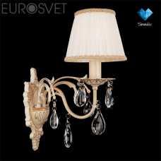 Бра EUROSVET Амелия 3637/1 белый с золотом/прозрачный хрусталь Strotskis