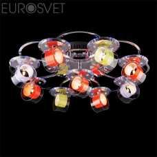 Люстра Потолочная EUROSVET 4933 4933/9 хром/бело-синий