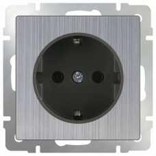 Розетка с заземлением без рамки Werkel Глянцевый никель WL02-SKG-01-IP20